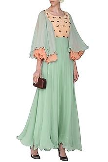 Mint Green and Peach Embellished Maxi Dress by Rishi & Vibhuti