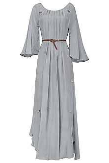 Powder Blue Asymmetrical Maxi Dress with Belt