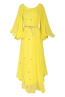 Yellow Asymmetrical Maxi Dress with Belt