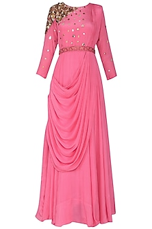 Pink Embellished Drape Maxi Dress with Belt