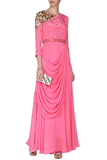 Pink Embellished Drape Maxi Dress with Belt by Rishi & Vibhuti
