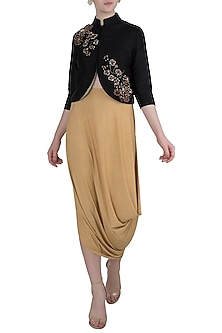 Black Crop Jacket with Drape Skirt by Rishi & Vibhuti