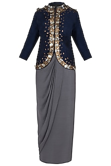 Blue Embellished Jacket with Grey Wrap Around Skirt