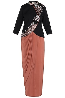 Black Embellished Jacket with Old Rose Wrap Around Skirt