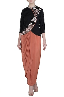 Black Embellished Jacket with Old Rose Wrap Around Skirt by Rishi & Vibhuti