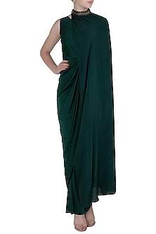 Bottle Green Drape Body Suit by Rishi & Vibhuti