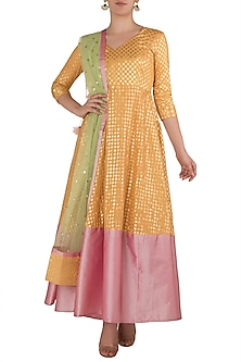 Yellow and Pink Anarkali by Rishi & Vibhuti