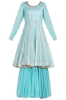 Blue Embellished Anarkali