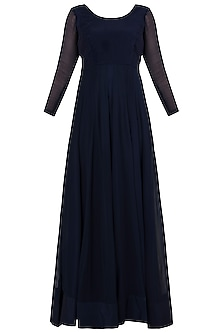Midnight Blue Embroidered Anarkali Gown