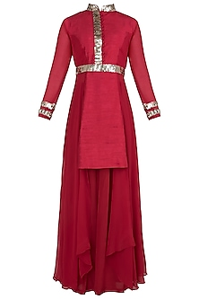 Red Boho Kurta with Flared Pants by Rishi & Vibhuti