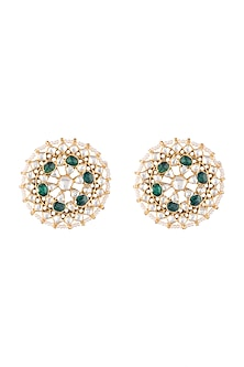 Gold Plated Faux Pearl & Stone Stud Earrings by Riana Jewellery