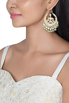 Gold Plated Faux Pearl, Bead & Stone Bali Earrings by Riana Jewellery