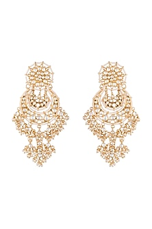 Gold Plated Fish Shaped Chandbali Earrings by Riana Jewellery