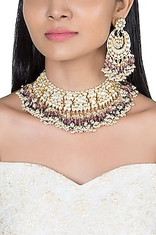 Gold Plated Faux Pearl, Bead & Stone Necklace Set by Riana Jewellery