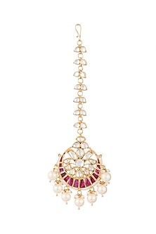 Gold Plated Faux Pearl & Stone Maang Tikka by Riana Jewellery