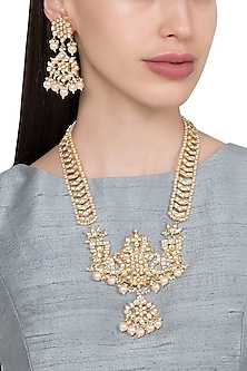 Gold Plated Kundan and Pearls Long Necklace with Earrings by Riana Jewellery