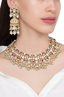 Gold Plated Pink and White Semi Precious Stones Choker Necklace with Jhumki Earrings by Riana Jewellery