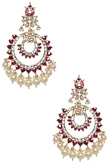 Gold Plated White and Pink Kundan Stone and Pearl Chandbali Earrings by Riana Jewellery