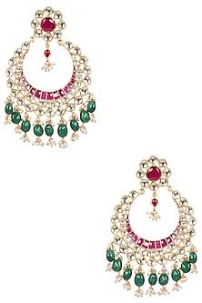 Gold Plated Kundan Stone and Pearl Chandbali Earrings by Riana Jewellery