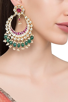 Gold Plated Kundan Stone and Pearl Chandbali Earrings by Riana Jewellery