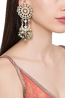 Gold Plated Kundan Stone and White and Green Pearl Earrings