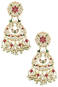 Gold Plated Red and Green Stones Earrings by Riana Jewellery