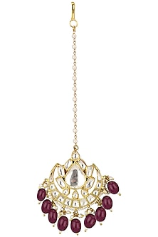 Gold Plated Pink Stone Maang Tikka by Riana Jewellery