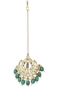 Gold Plated Green Stone Round Maang Tikka by Riana Jewellery