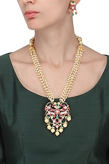 Gold Plated Pink and Green Stone Pendant Necklace With Earrings Set by Riana Jewellery