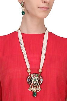 Gold Plated Navratna Stone Pendant Necklace With Earrings Set by Riana Jewellery
