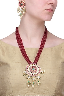 Gold Finish White and Red Stone Round Pendant Necklace Set by Riana Jewellery