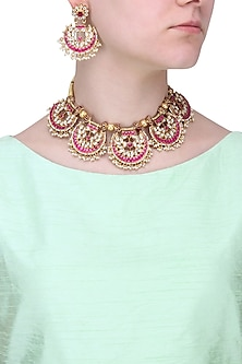 Gold Finish White and Red Stone Fan Necklace Set by Riana Jewellery
