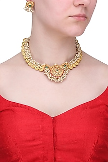 Gold Finish Red and Green Stone Necklace Set