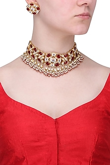 Gold Finish White and Red Stones Necklace Set by Riana Jewellery