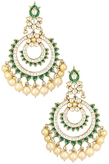 Gold Finish White and Green Jadtar Stone Chandbali Earrings by Riana Jewellery