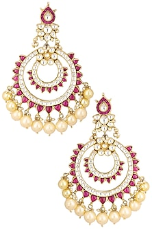Gold Finish White and Pink Jadtar Stone Chandbali Earrings by Riana Jewellery
