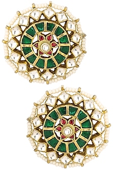 Gold Finish Green Meenakari Floral Top Earrings by Riana Jewellery