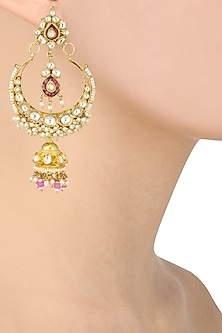 Gold Finish White and Pink Stone Crescent Earrings by Riana Jewellery
