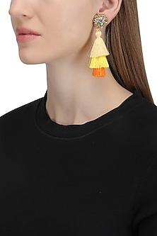 Gold Plated Multi Colored Tasseled Earrings by Riana Jewellery