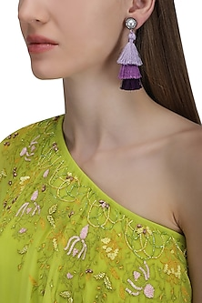 Gold Plated Hues Of Purple Tasseled Earrings by Riana Jewellery