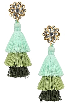 Gold Plated Hues Of Green Tasseled Earrings by Riana Jewellery