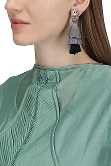 Gold Plated Grey and Black Tasseled Earrings by Riana Jewellery