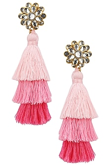Gold Plated Hues Of Pink Tasseled Earrings by Riana Jewellery