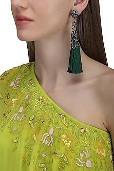 Gunmetal Plated Green Sequins Tasseled Earrings by Riana Jewellery