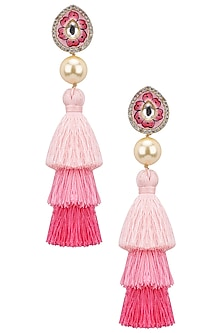 Gold Plated Painted Meena Work and Hues Of Pink Tasseled Earrings by Riana Jewellery