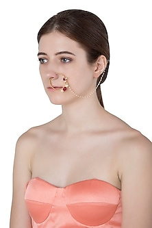 Gold Plated Square Stone Nose Ring