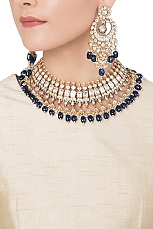 Gold Plated Semi-Precious Stones Choker Necklace Set by Riana Jewellery