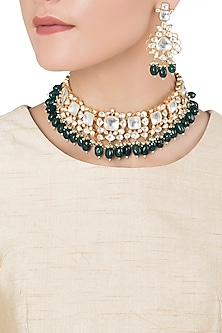 Gold Plated Jadtar Stone Choker Necklace Set by Riana Jewellery