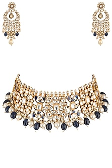 Gold Plated Semi-Precious Stones and Pearl Choker Necklace Set by Riana Jewellery