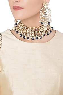 Gold Plated Semi-Precious Stones and Pearl Choker Necklace Set